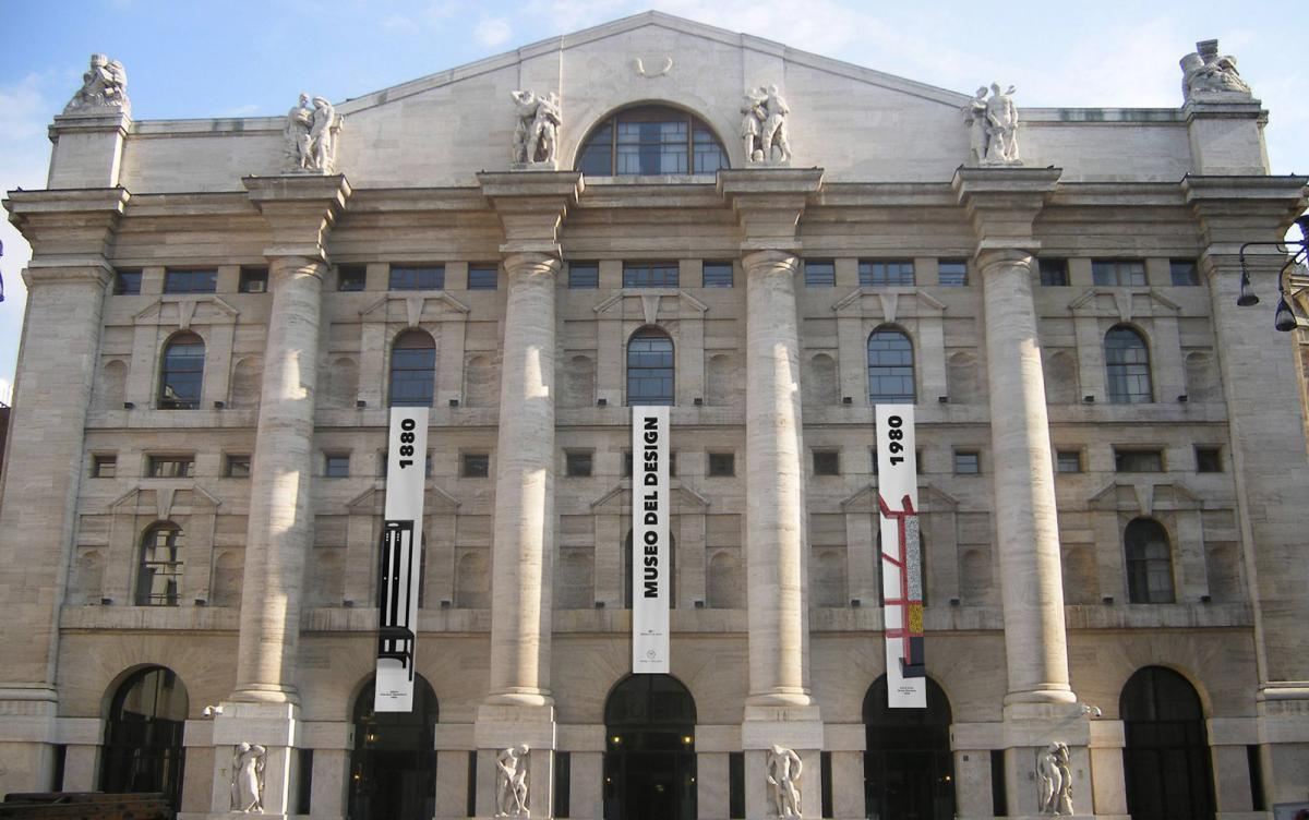 The facade of Borsa Italiana during the museum show in 2015.